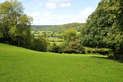 Countryside Landscape of Green Fields. Countryside Landscape View of Green Fields in the Avon Valley near Bath in Somerset England Stock Photo