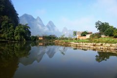countryside landscape in guilin of china Royalty Free Stock Photo