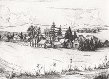 Countryside landscape, Hand drawn illustration sketch. Stock Photography