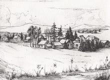 Countryside landscape, Hand drawn illustration sketch. stock illustration
