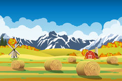 Countryside landscape with haystacks on fields. Stock Photos