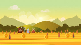 Countryside landscape with haystacks on fields. Rural area . Hay bales. Farm flat . Organic food concept for any design Stock Photos