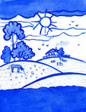 Countryside landscape with home and cows watercolor illustration. Countryside landscape painting with home and cows. Blue monochrome watercolor illustration stock photos