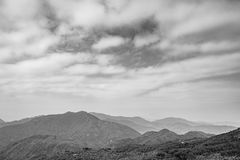 Countryside landscape in Hong Kong, black and white Royalty Free Stock Photo