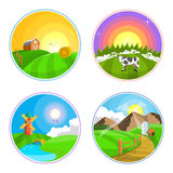 Countryside landscape illustration with hay, field, village and windmill. Farm landscape icon set. Countryside landscape with hay, field and village. Farm Royalty Free Stock Image