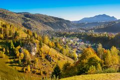 Countryside landscape in Moeciu-Bran, a romanian villlage  Stock Photos