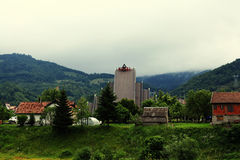 Countryside landscape among mountains Royalty Free Stock Photography