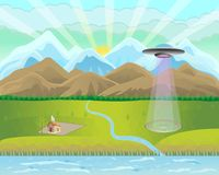 Mountain landscape fields farms river alien UFO cropcircle. Countryside landscape with mountains, fields, farms, rivers and trees. Spaceship with light beam Royalty Free Stock Images