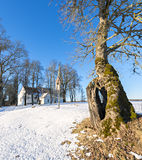 Countryside landscape with old lutheran church Stock Photography