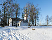 Countryside landscape with old lutheran church Royalty Free Stock Image