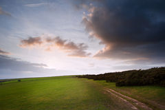 Countryside landscape path leading through fields Royalty Free Stock Image