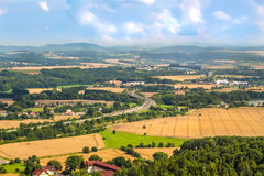Countryside landscape seen from above. Fields and villages in the Czech Republic. Royalty Free Stock Photo