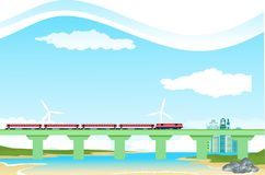 Countryside landscape, train on bridge, river vector royalty free stock image