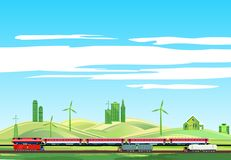 Countryside landscape, train on railroad, highwayr royalty free stock photography