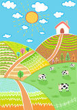 Countryside landscape vector illustration Stock Photos