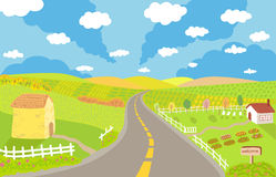 Countryside landscape vector illustration Royalty Free Stock Photos