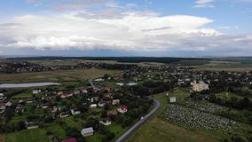 Countryside, landscape, Western Ukraine, aerial view. Generic architecture at the countryside of Western Ukraine, landscape stock video footage
