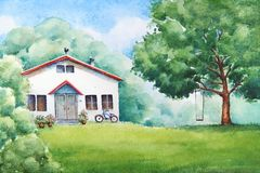 Countryside landscape with white house. Watercolor illustration of the summer countryside landscape with white house, garden, bicycle and a teeter board Stock Photos