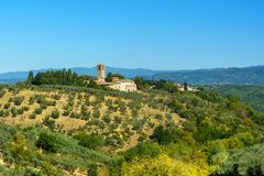 Countryside landscape whith church near San Casciano Val di Pesa. Tuscany. Italy royalty free stock photo