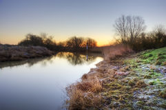 Countryside landscape Winter sunrise Stock Photography