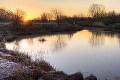 Countryside landscape Winter sunrise Royalty Free Stock Image