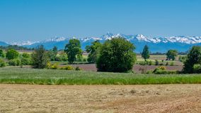 Free Countryside Landscape With Pyrenees Mountain Range In The Background Royalty Free Stock Image - 116642756