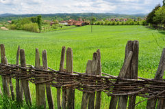 Countryside landscape and wooden fence Stock Photography