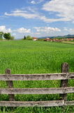 Countryside landscape and wooden fence Stock Image