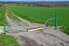 Countryside livestock security gate. Stock Photos