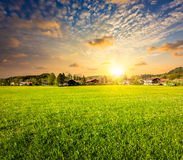 Countryside meadow field on sunset Stock Images