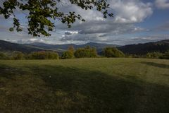 Countryside with meadows and forests royalty free stock photos