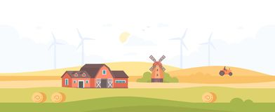 Countryside - modern flat design style vector illustration. On white background. A high quality composition with a barn, field, silhouettes of windmills Royalty Free Stock Photos