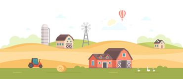 Countryside - modern flat design style vector illustration. On white background. A high quality composition with a barn, field, windmill, silage tower, tractor Royalty Free Stock Photography