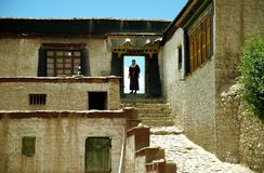 Countryside Monastery. Tibet is a very crowded destination in Tibet Royalty Free Stock Photography