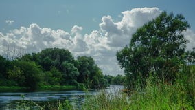 Countryside Moscow river and clouds time lapse video. Clip stock video