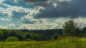 Countryside Moscow river and clouds time lapse video. Clip stock footage