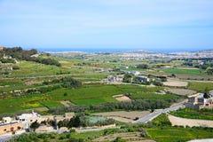 Countryside near Mdina, Malta. Elevated view of farmland looking North towards the coast, Mdina, Malta, Europe Stock Photo