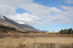Countryside New Zealand. Across swampland to mountains in rural New Zealand Royalty Free Stock Image