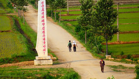 Countryside, North-Korea. Rural scene in North-Korea with local people Stock Photo