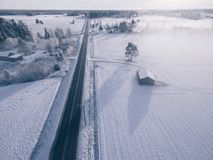 Free Countryside On Snowy Winter Day. Aerial View Of Village And Road At Winter Stock Photography - 108513882
