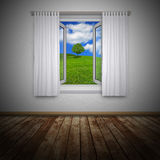 Countryside through open window Royalty Free Stock Photography