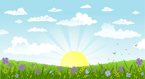 Countryside panorama in the morning. Vector illustration of beautiful landscape. Rural scene with green field and bright sun on a summer morning Stock Photo