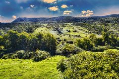 Countryside panorama with uncultivated fields and grazing land. In Italy Stock Image