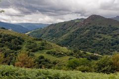 Landscape of Pays Basque, French countryside in the Pyrenees mountains. royalty free stock photography