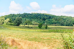 Countryside of region Horezu with hills, forests and fileds. Summer time Stock Photography