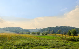 Countryside of region Horezu from Romania with hills, mountains and fileds, autumn time.  Stock Photography