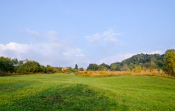Countryside of region Horezu from Romania with hills, mountains and fileds, autumn time Stock Photos