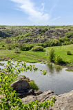 Countryside river landscape in early spring season Stock Image