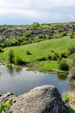 Countryside river landscape in early spring season Stock Photos
