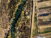 Countryside road and scenery aerial view. Countryside road and agriculture land scenery aerial view, path, landscape, above, farming, lane, empty, transportation stock photo